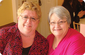 Cheryl Delsite (left) enjoys sharing laughs with friend and fellow ABCs support group member Karen Byers