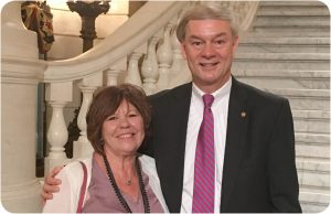 PBCC Director of Patient Advocacy Dolores Magro spoke with oral chemo parity bill author Rep. Matt Baker at a recent press conference held by the PA Cancer Treatment Fairness Coalition at the State Capitol.